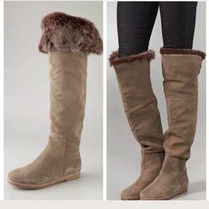 Sam Edelman Tan Suede Fur Orlando tall boots sz 8